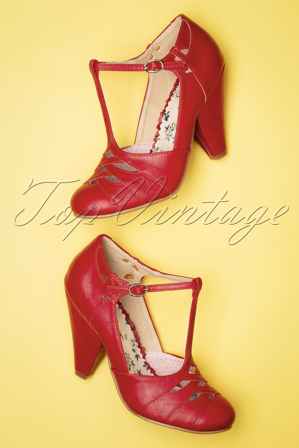 1950s Style Shoes | Heels, Flats, Saddle Shoes 50s Laura T-Strap Pumps in Red £81.34 AT vintagedancer.com