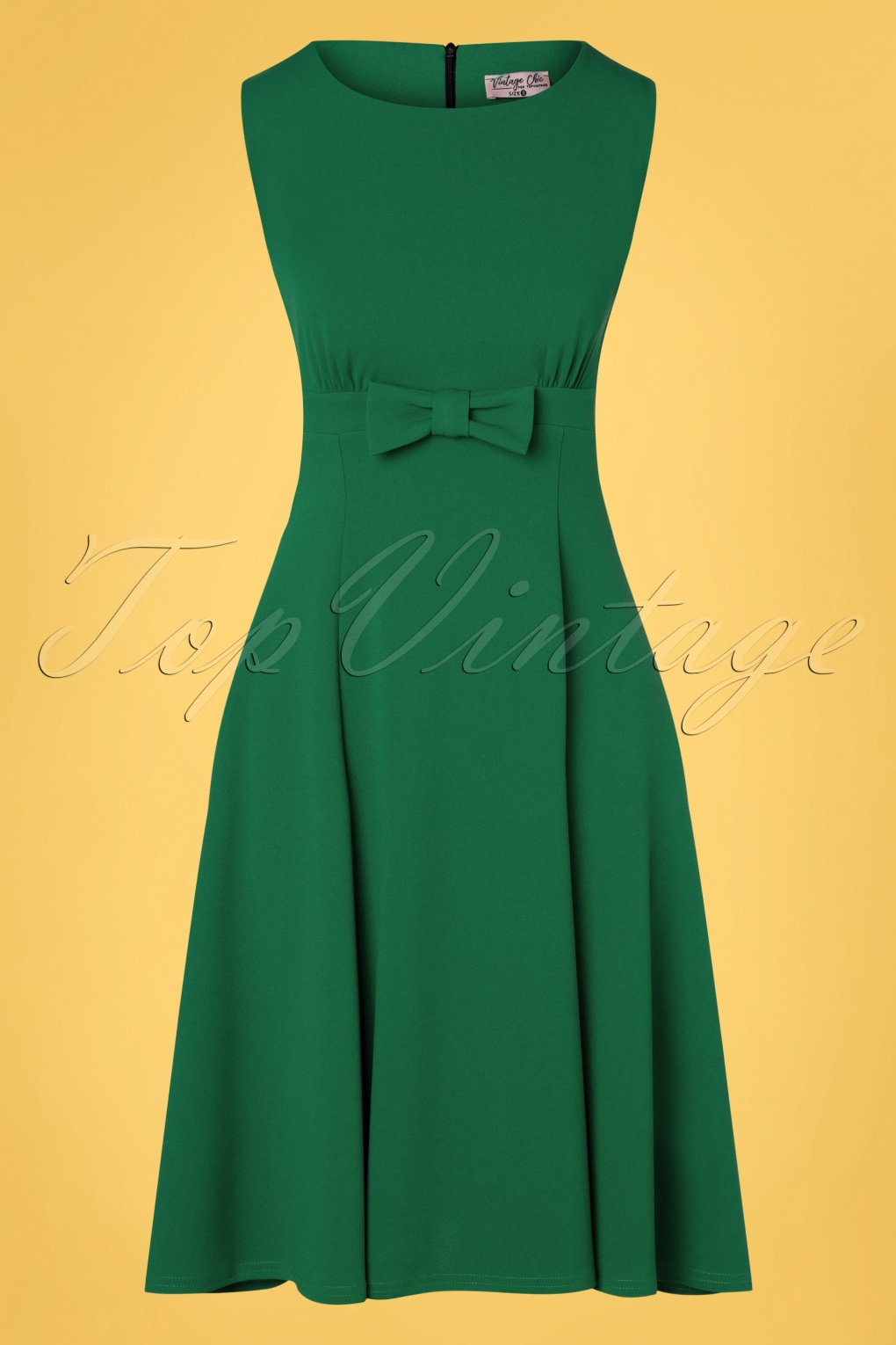 60s Dresses | 1960s Dresses Mod, Mini, Hippie 50s Daborah Bow Swing Dress in Emerald Green £48.27 AT vintagedancer.com