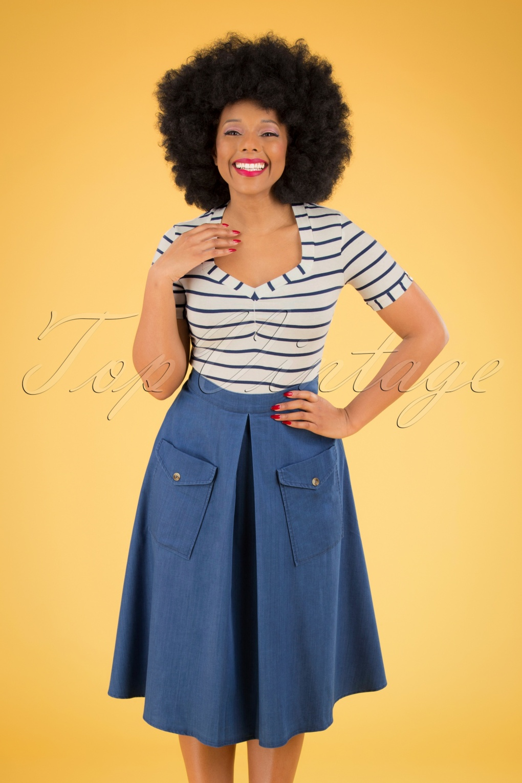 50s Skirt Styles   Poodle Skirts, Circle Skirts, Pencil Skirts 1950s 50s Freddie Skirt in Denim Blue £37.80 AT vintagedancer.com