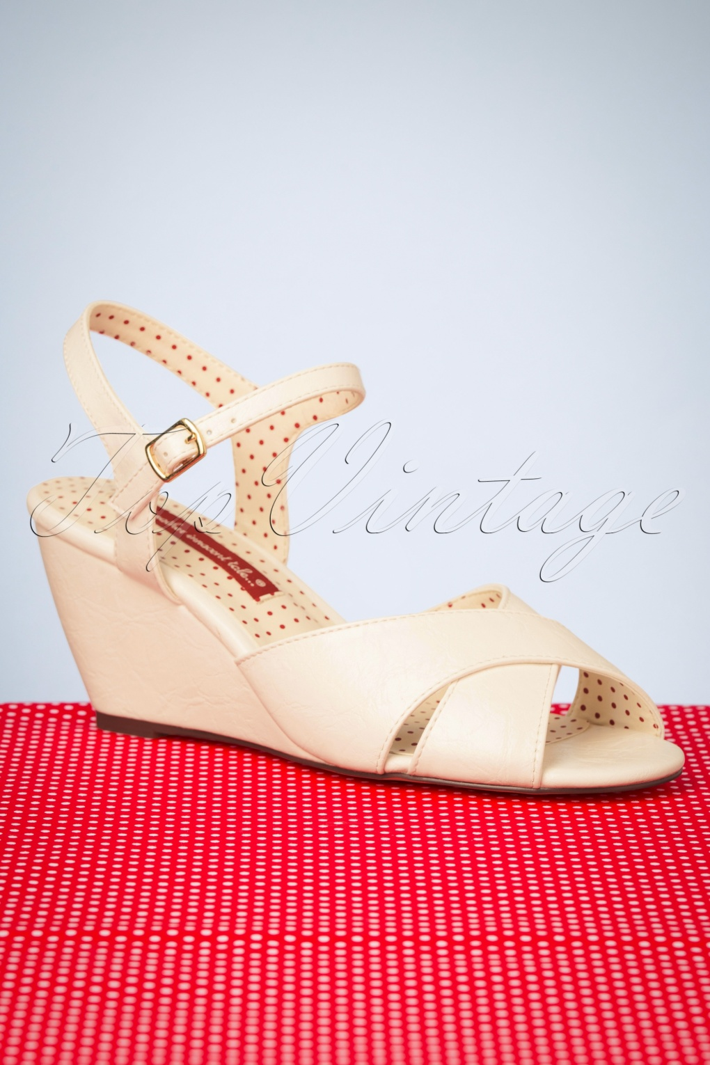 1950s Style Shoes | Heels, Flats, Saddle Shoes 50s Dima Wedge Sandals in White £57.65 AT vintagedancer.com