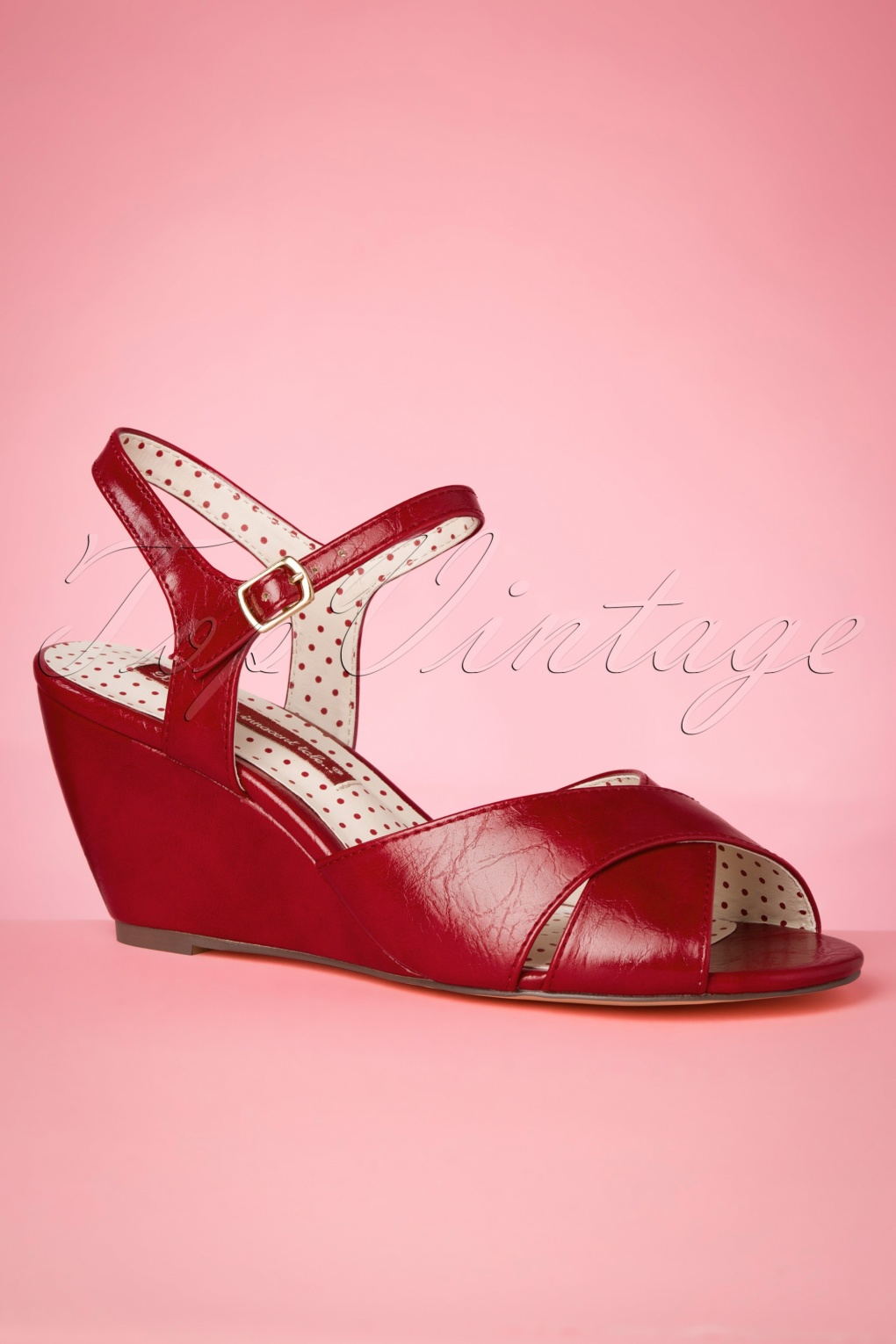 Pin Up Shoes- Heels, Pumps & Flats 50s Dima Wedge Sandals in Red £72.06 AT vintagedancer.com