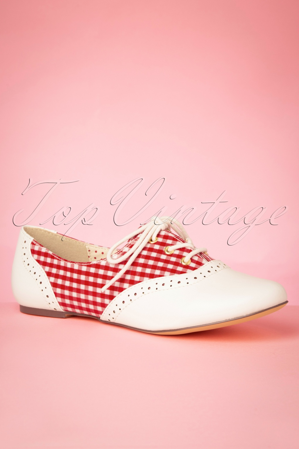 Pin Up Shoes- Heels, Pumps & Flats 60s Emmie Gingham Derby Flats in Red and Ivory £62.65 AT vintagedancer.com