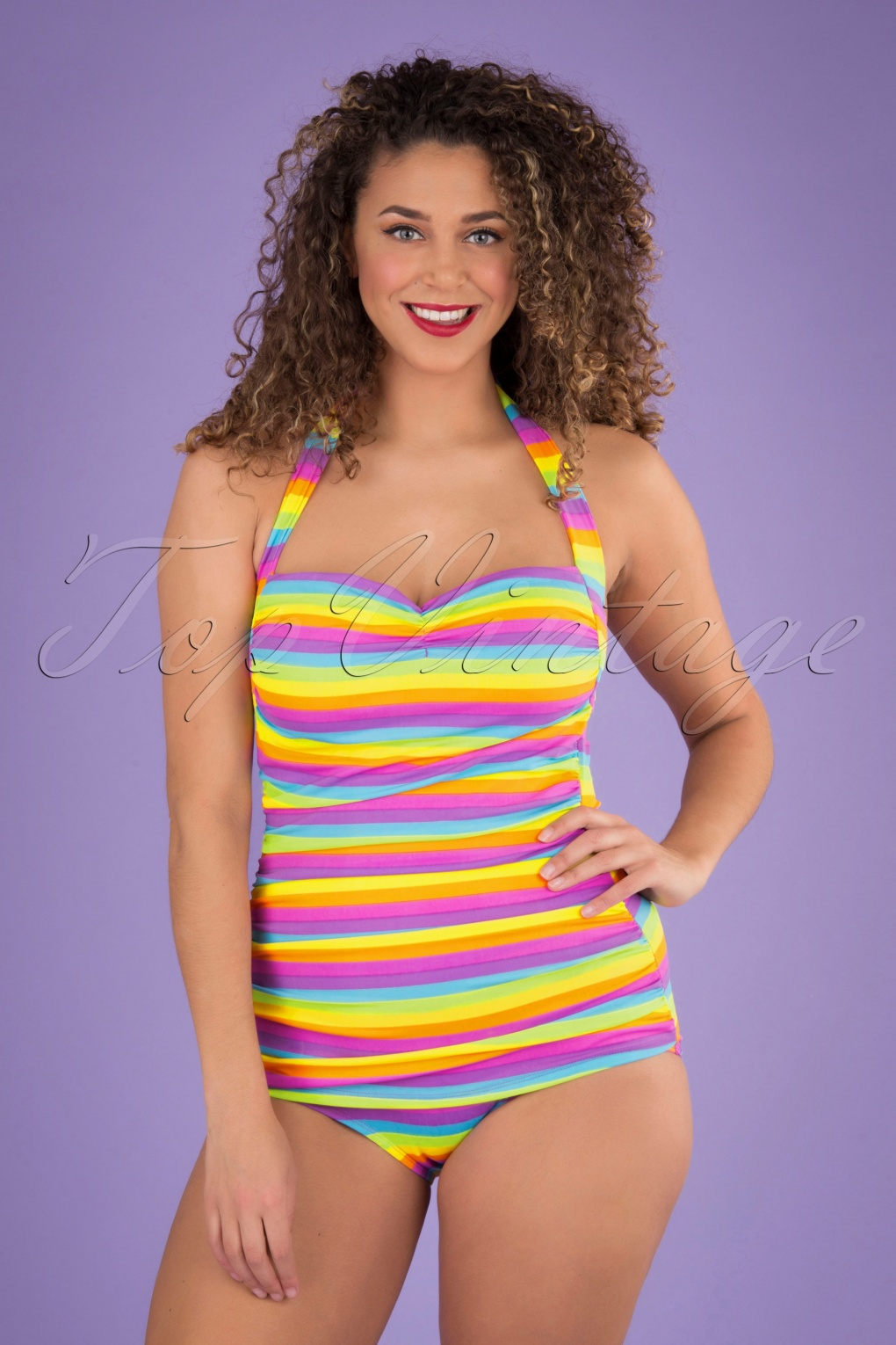 Vintage Bathing Suits | Retro Swimwear | Vintage Swimsuits 50s Iris Frock One Piece Swimsuit in Multi £90.53 AT vintagedancer.com