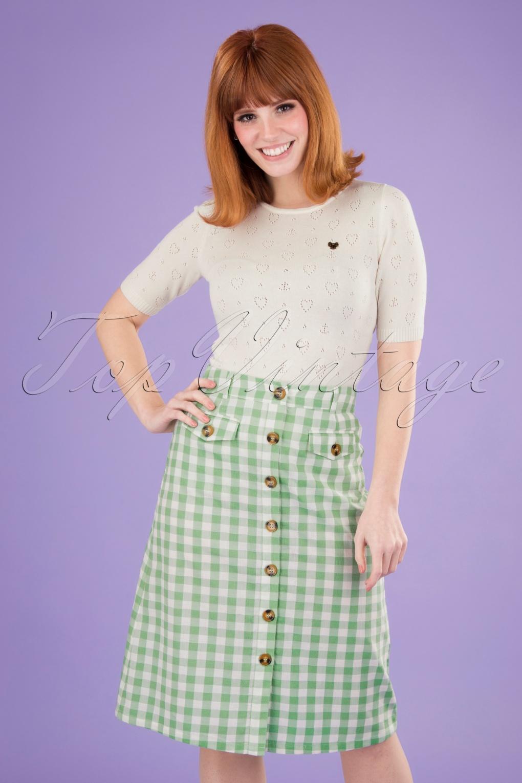 60s Skirts | 70s Hippie Skirts, Jumper Dresses 60s Caroll Legend Skirt in Island Green £62.17 AT vintagedancer.com
