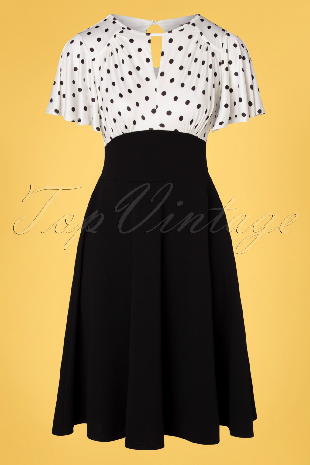 1950s Dresses, 50s Dresses | 1950s Style Dresses 50s Nina Polkadot Swing Dress in Black and Ivory £58.83 AT vintagedancer.com
