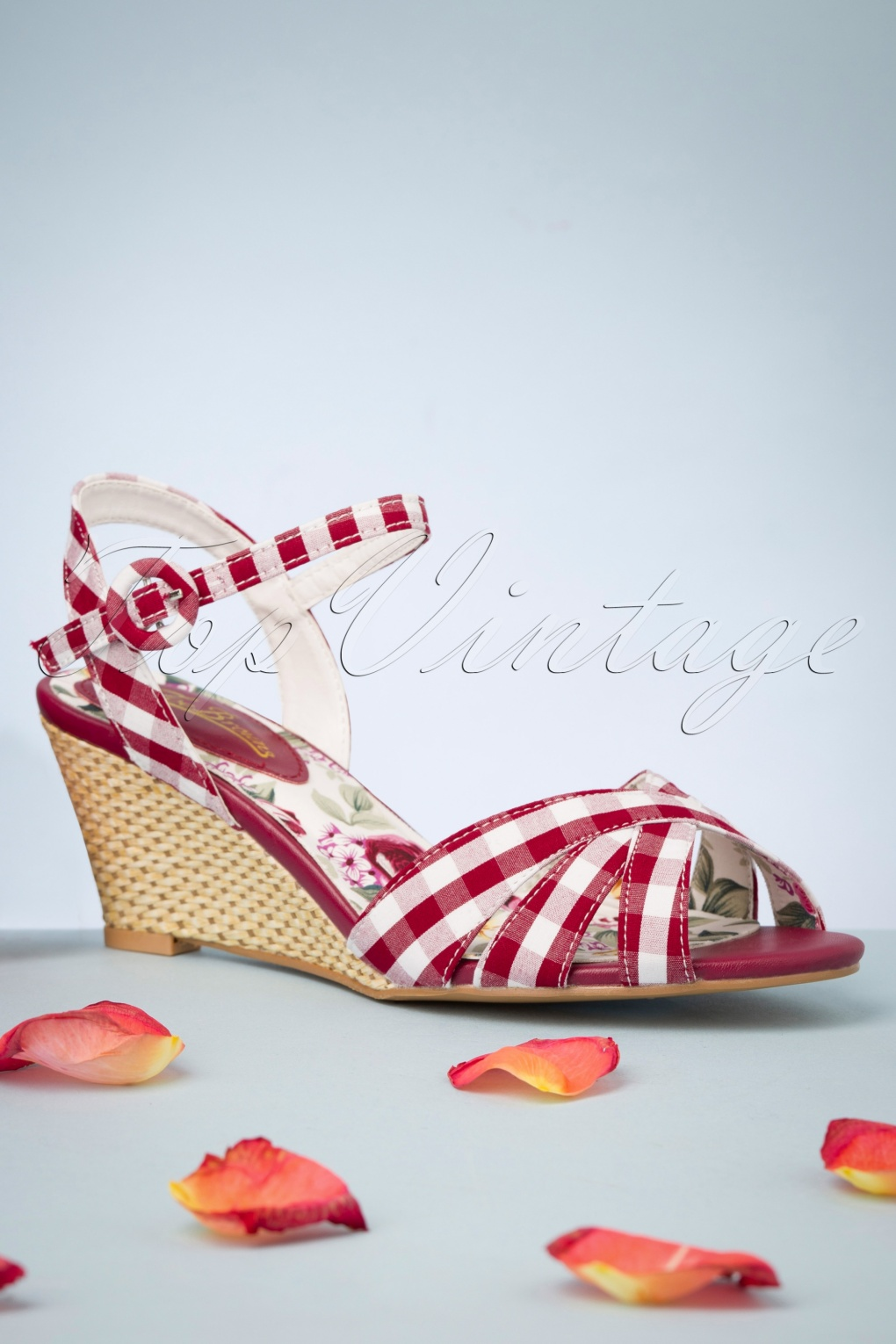Pin Up Shoes- Heels, Pumps & Flats 50s American Diner Wedge Sandals in Red £46.77 AT vintagedancer.com