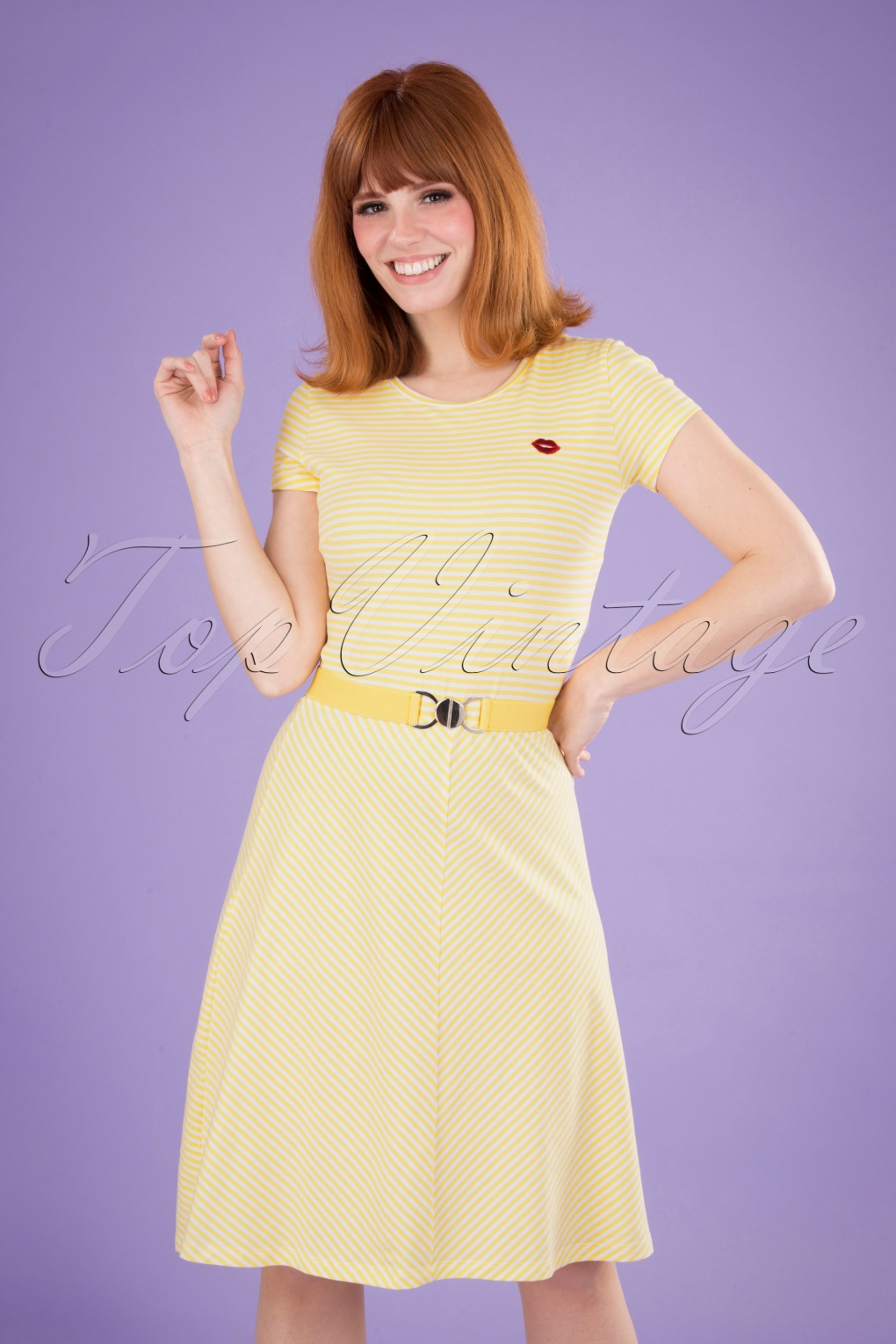 60s Dresses | 1960s Dresses Mod, Mini, Hippie 60s Oh Yeah Stripes Dress in Yellow and White £24.95 AT vintagedancer.com