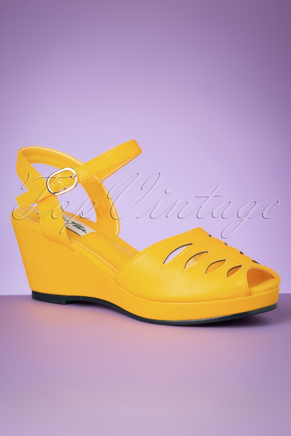 1950s Style Shoes | Heels, Flats, Saddle Shoes 60s Lily Wedge Sandals in Yellow £40.51 AT vintagedancer.com