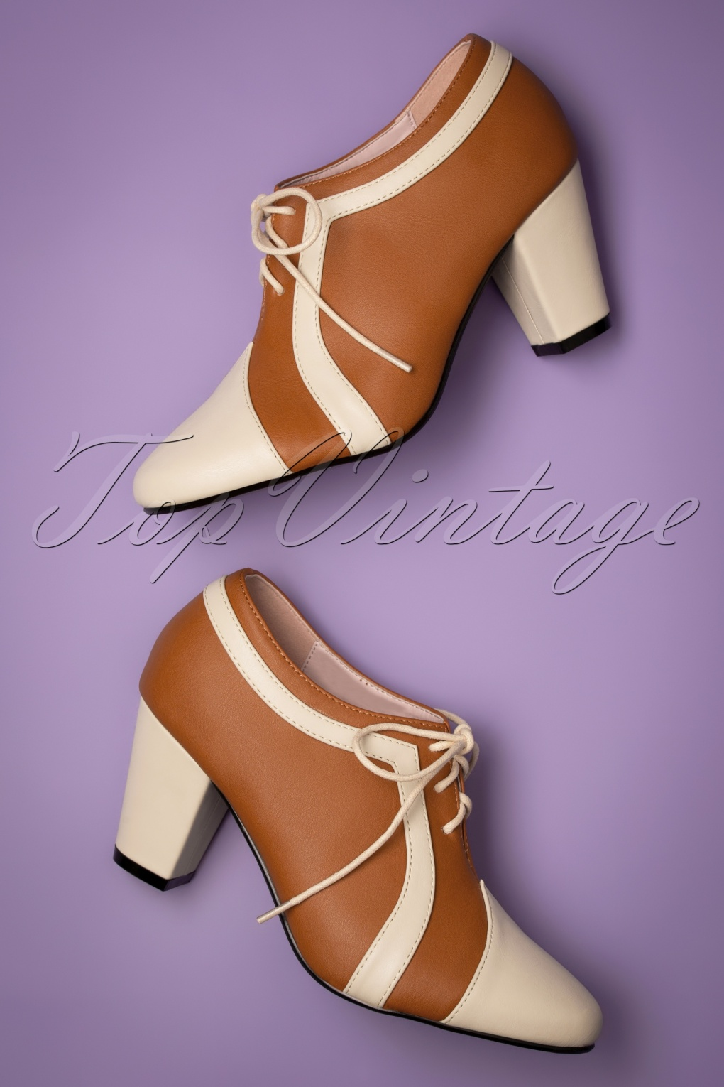 Vintage Shoes, Vintage Style Shoes 40s Amelia Shoe Booties in Cognac and Cream £51.58 AT vintagedancer.com