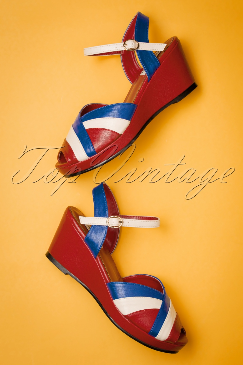 60s Shoes, Boots 60s Tonya Wedge Sandals in Red £49.21 AT vintagedancer.com