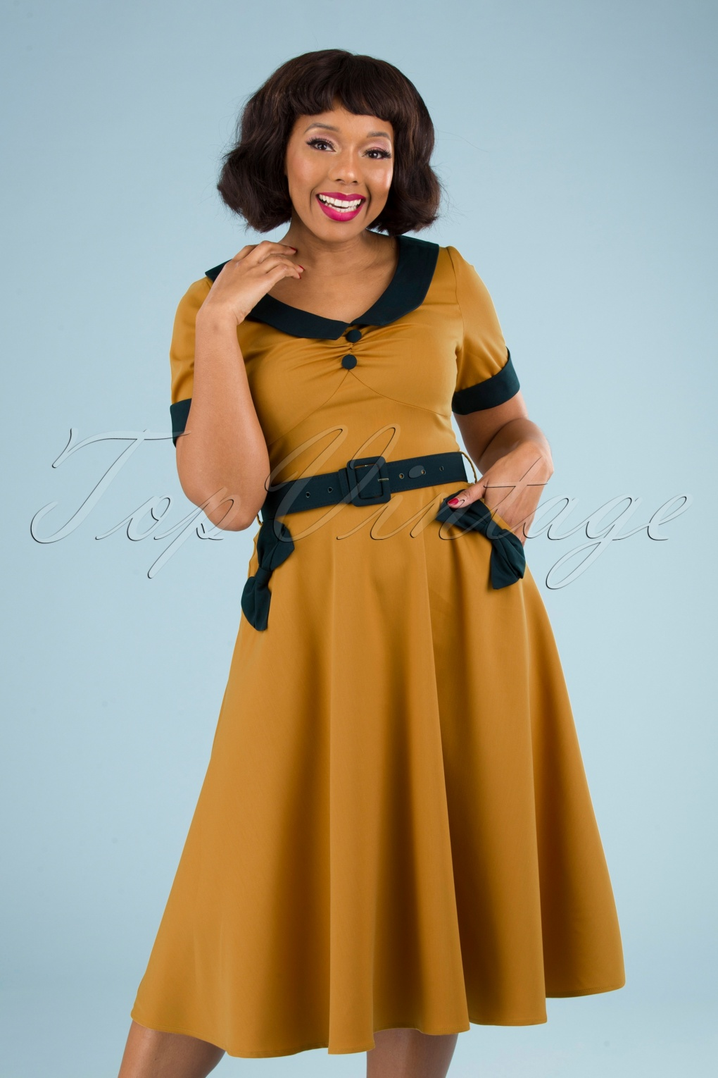 Fifties Dresses : 1950s Style Swing to Wiggle Dresses 50s Maryann Swing Dress in Honey Yellow £58.62 AT vintagedancer.com