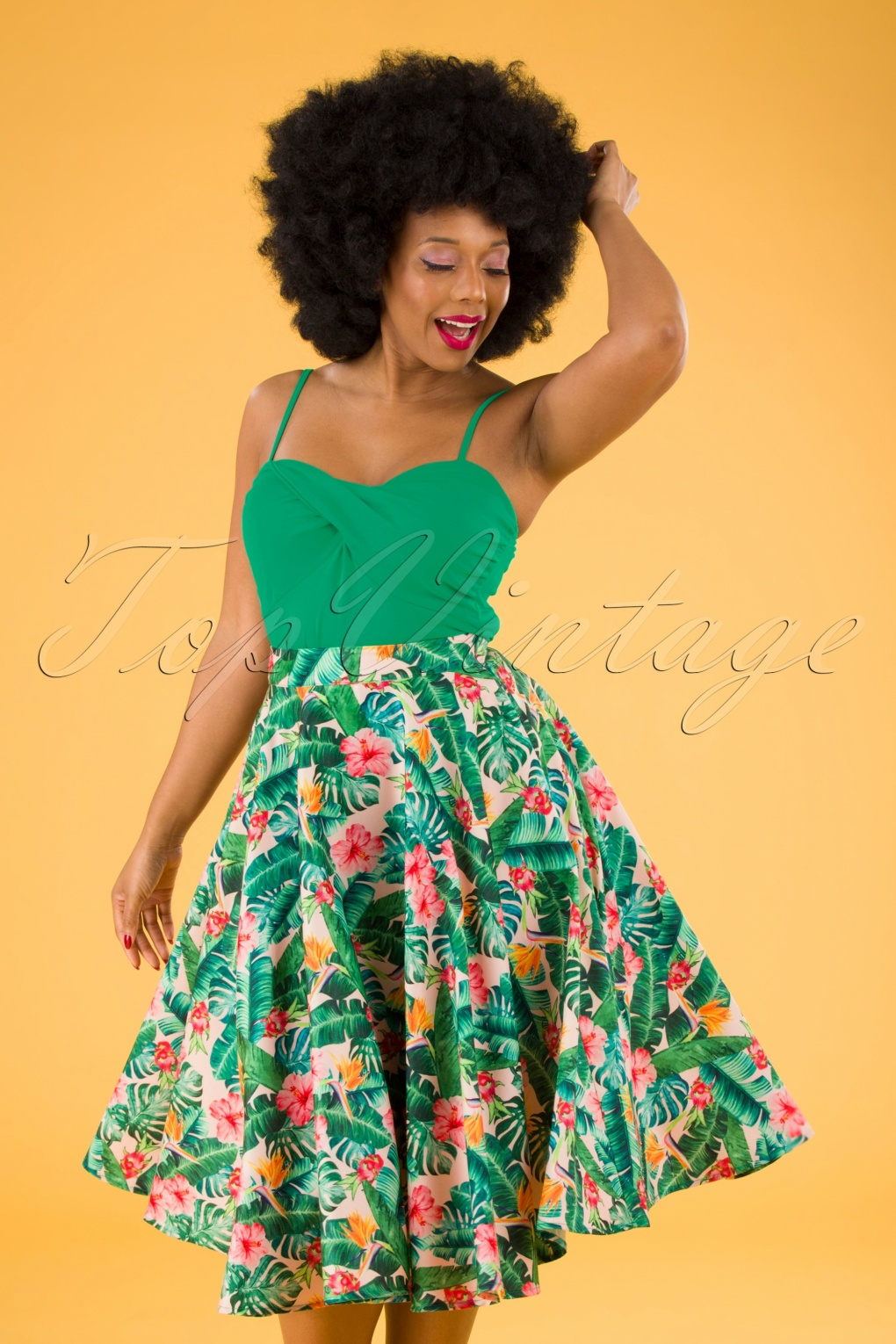 Retro Tiki Dress – Tropical, Hawaiian Dresses Unreal Redheads Collaboration  50s Jinkx Floral Tropical Skirt in Pink and Green £39.95 AT vintagedancer.com