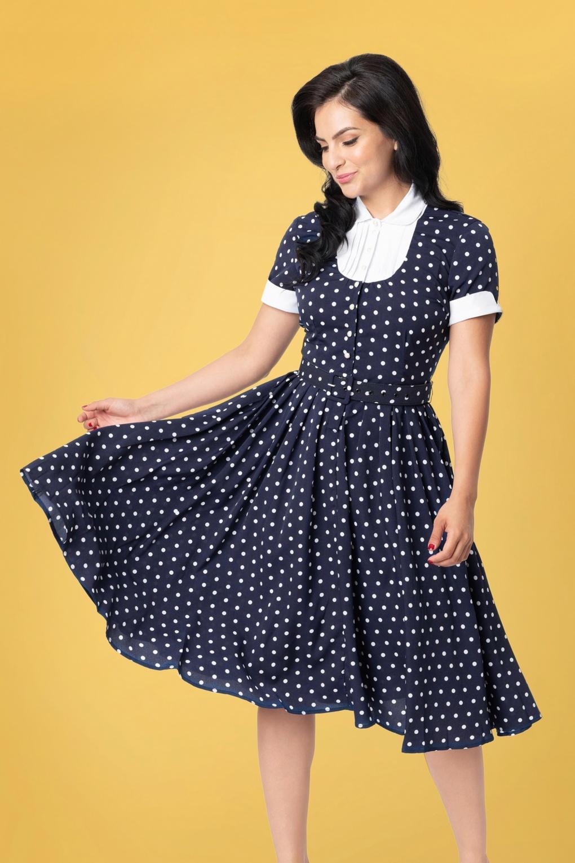 Rockabilly Dresses | Rockabilly Clothing | Viva Las Vegas 50s I Love Lucy x UV Ricardo Swing Dress in Navy and White Polkadot £112.56 AT vintagedancer.com