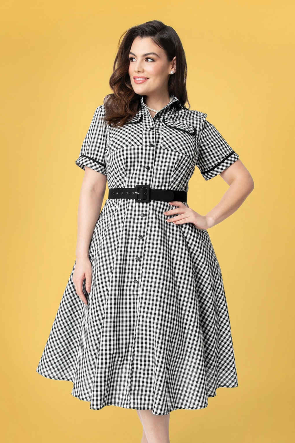 What Did Women Wear in the 1950s? 1950s Fashion Guide 50s I Love Lucy x UV Ethel Swing Dress in Black and White Gingham £111.65 AT vintagedancer.com