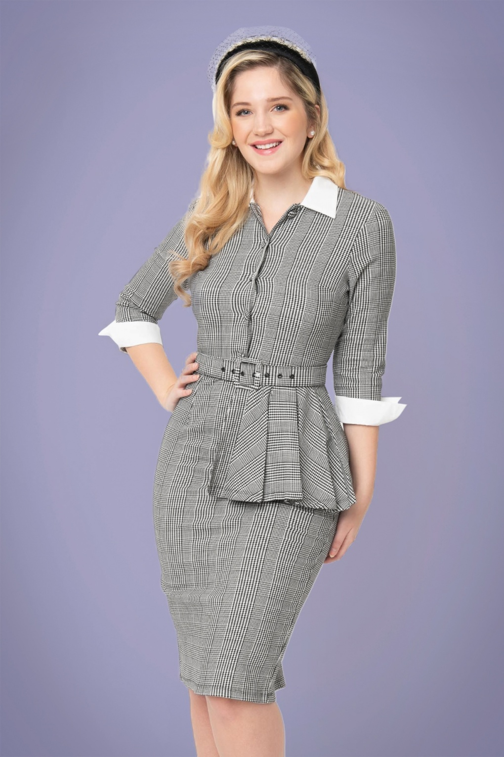 What Did Women Wear in the 1950s? 1950s Fashion Guide 50s I Love Lucy x UV TV Star Pencil Dress in Black and White Houndstooth £111.65 AT vintagedancer.com