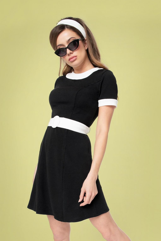 60s Dresses & 60s Style Dresses UK 60s Smak Parlour Stealer Dress in Black and White £62.65 AT vintagedancer.com