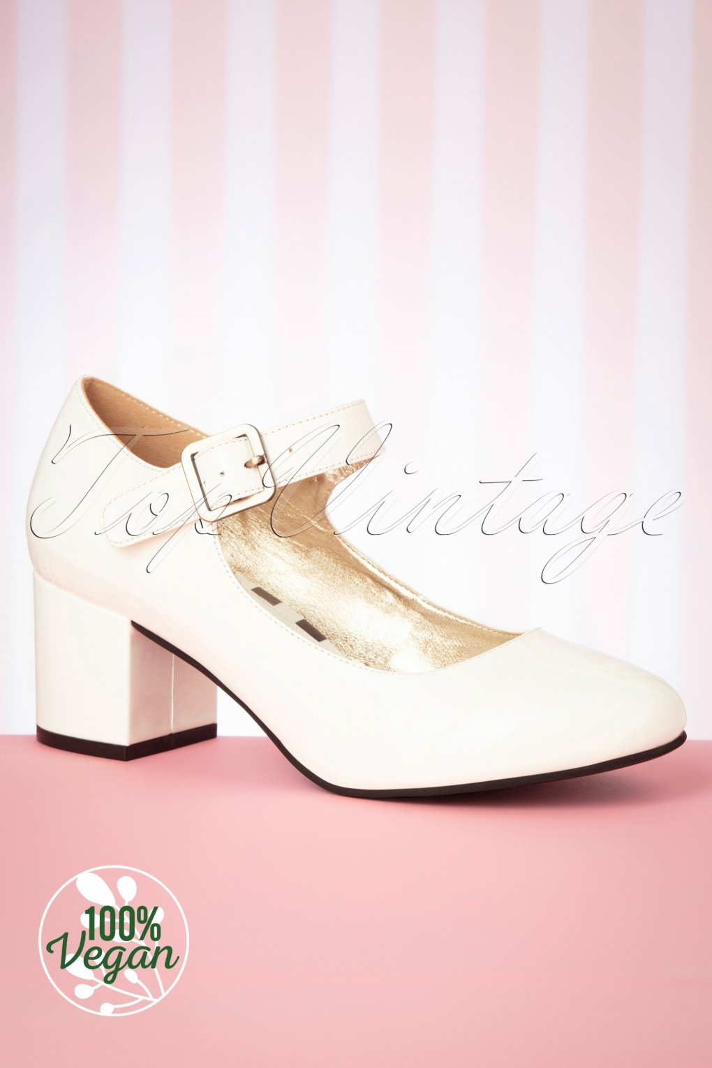 1960s Style Dresses, Clothing, Shoes UK 60s Eve Vegan Patent Block Heel Pumps in Cream £86.00 AT vintagedancer.com