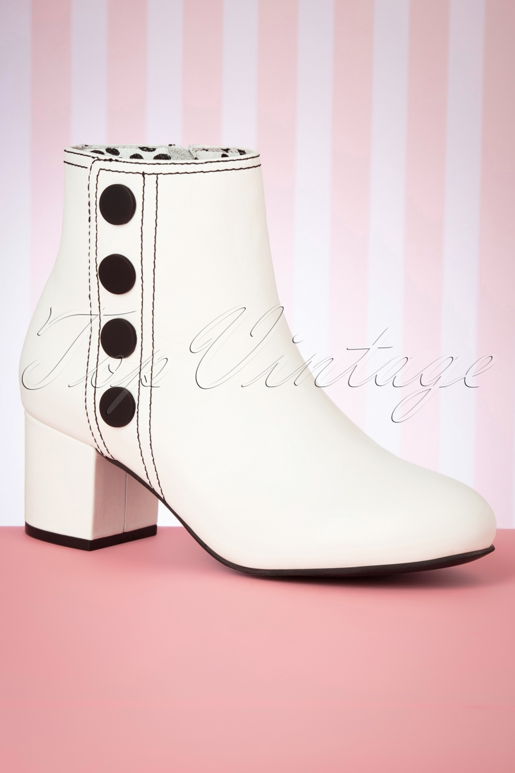 60s Dresses & 60s Style Dresses UK 60s Eve Ankle Booties in Cream £153.05 AT vintagedancer.com
