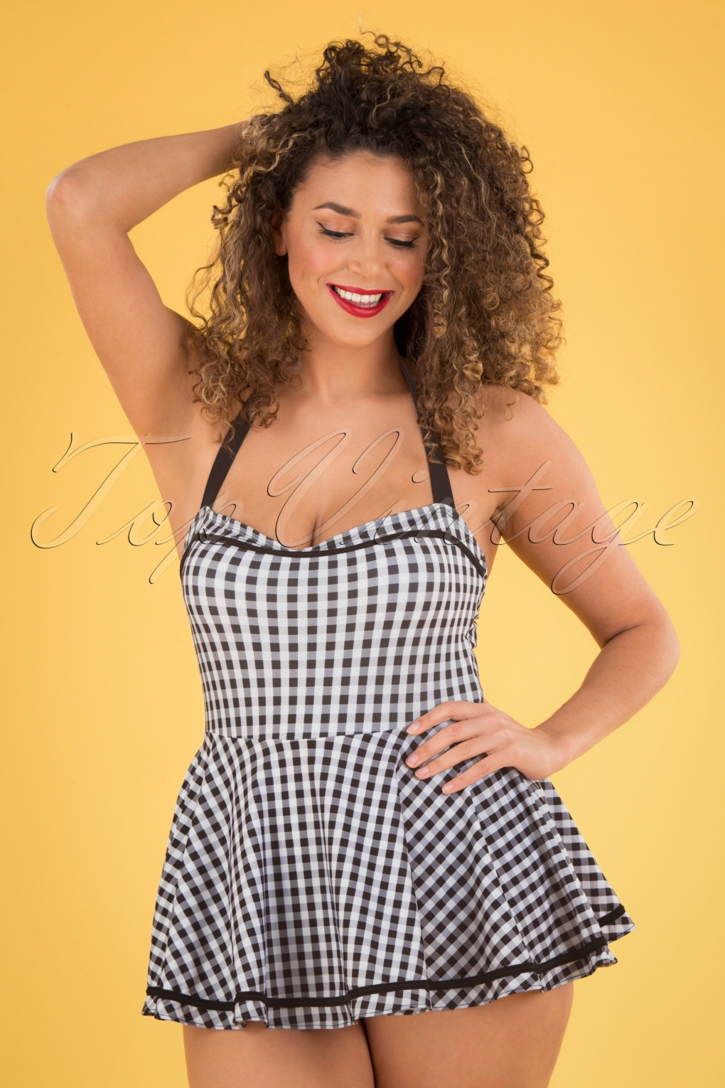 Vintage Bathing Suits | Retro Swimwear | Vintage Swimsuits 50s Gigi Gingham Swimdress in Black and White £44.93 AT vintagedancer.com