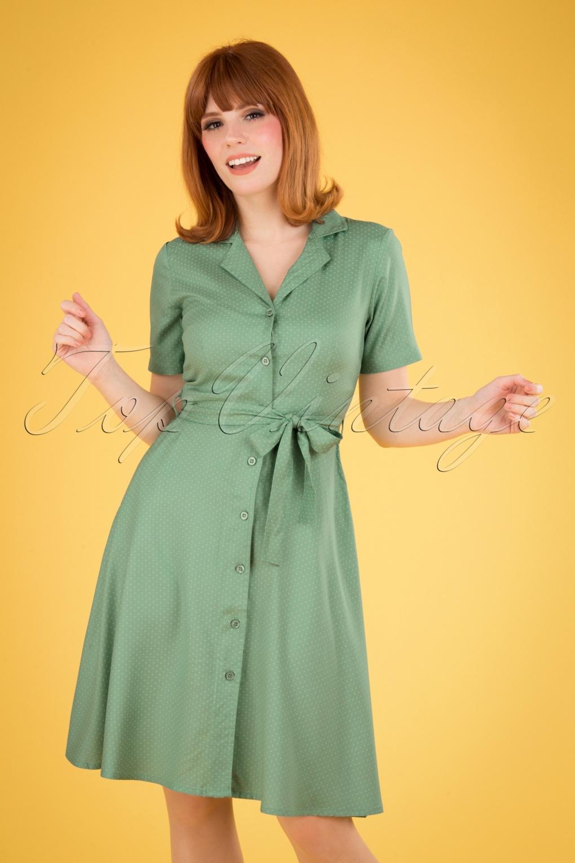 1940s & 1950s Shirtwaist Dresses 60s Daphne Pin Dot Swing Dress in Duck Egg Green £46.26 AT vintagedancer.com