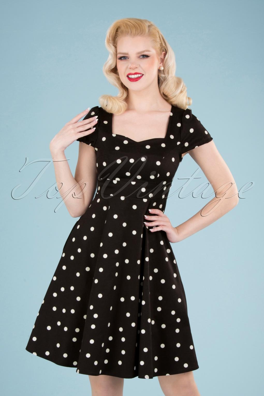 Rockabilly Dresses | Rockabilly Clothing | Viva Las Vegas 50s Claudia Polkadot Swing Dress in Black £44.39 AT vintagedancer.com