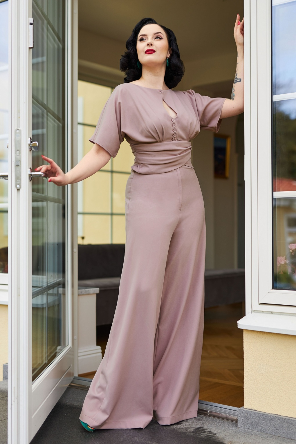 Vintage Overalls 1910s -1950s History & Shop Overalls 50s Narin Helio Jumpsuit in Mauve £117.88 AT vintagedancer.com