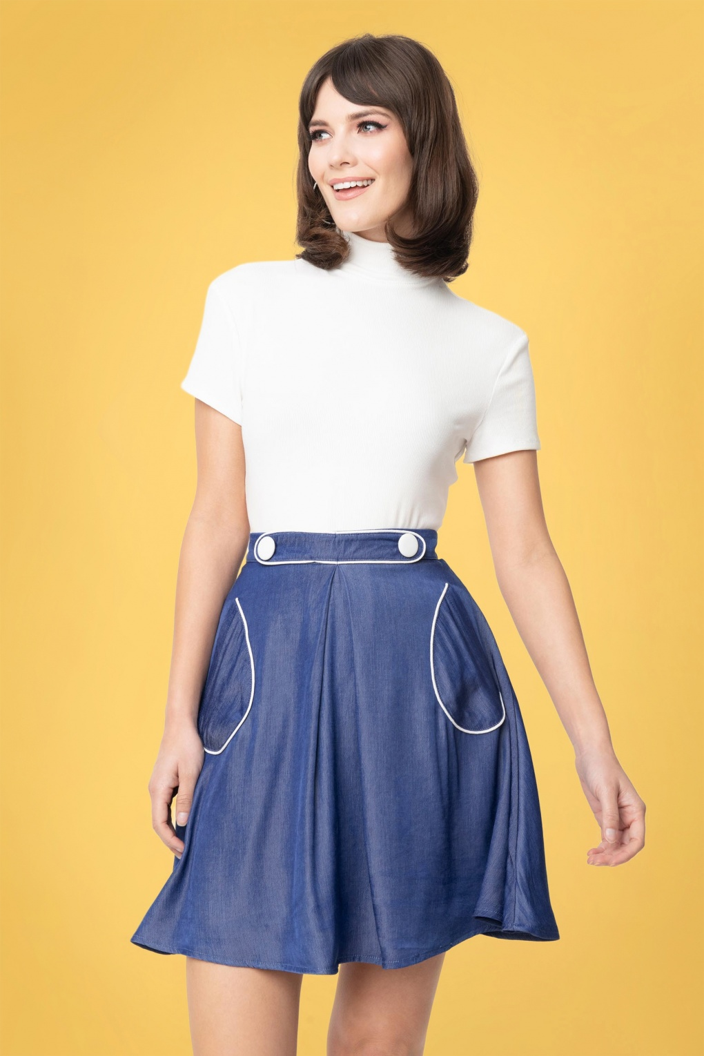 60s Dresses & 60s Style Dresses UK 60s Smak Parlour Chambray Sitting Pretty Skirt in Denim Blue £37.80 AT vintagedancer.com
