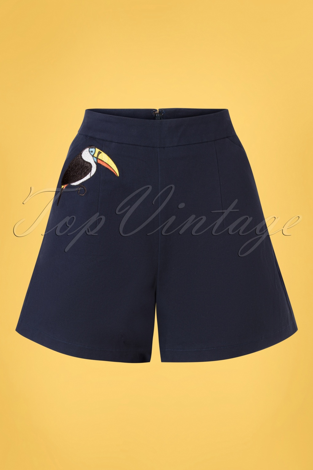 Vintage Shorts, Culottes,  Capris History 50s Toucan Shorts in Navy £34.37 AT vintagedancer.com