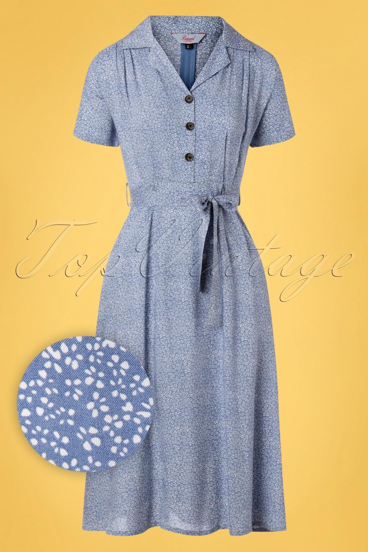 1940s Dresses | 40s Dress, Swing Dress 40s Ditzy Floral Swing Dress in Light Blue £42.00 AT vintagedancer.com