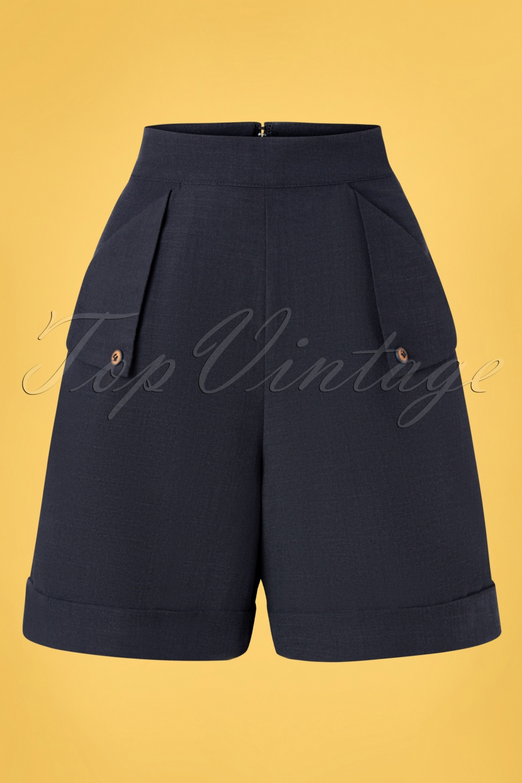1950s Shorts History | Summer Clothing 50s Sweet Summer Sail Shorts in Navy  AT vintagedancer.com
