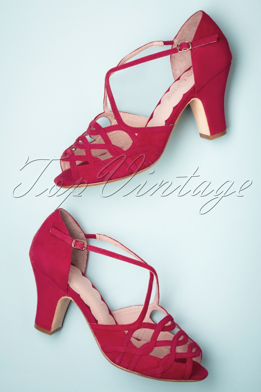Vintage Heels, Retro Heels, Pumps, Shoes 40s Adele Strappy Cross Over Sandals in Red £126.15 AT vintagedancer.com