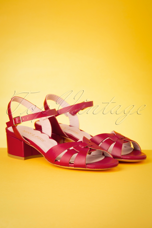 Vintage Sandals | Wedges, Espadrilles – 30s, 40s, 50s, 60s, 70s 60s Isla Low Heel Sandals in Red £178.19 AT vintagedancer.com