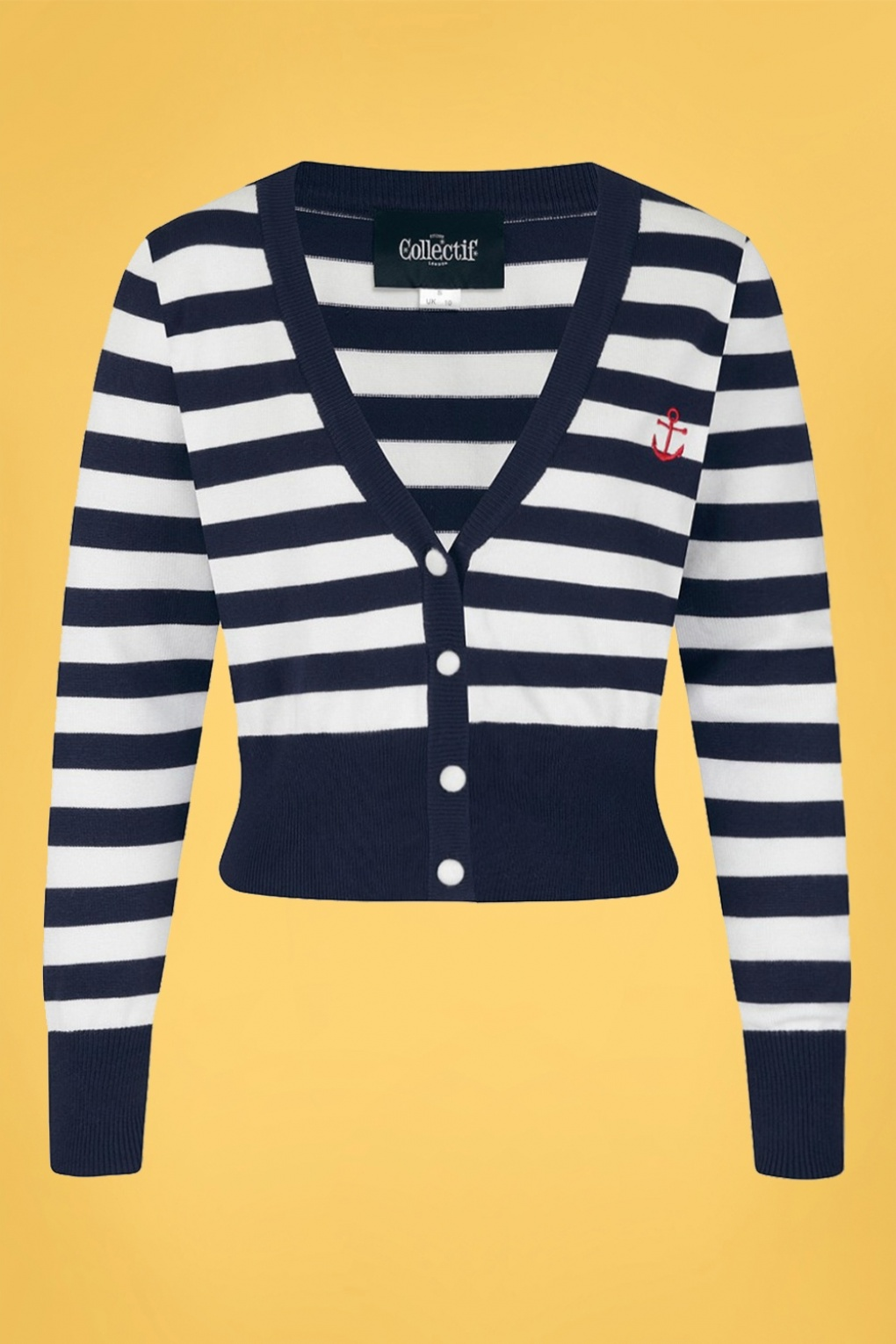 Sailor Dresses, Nautical Theme Dress, WW2 Dresses 50s Purdy Nautical Striped Cardigan in Navy and White £34.54 AT vintagedancer.com