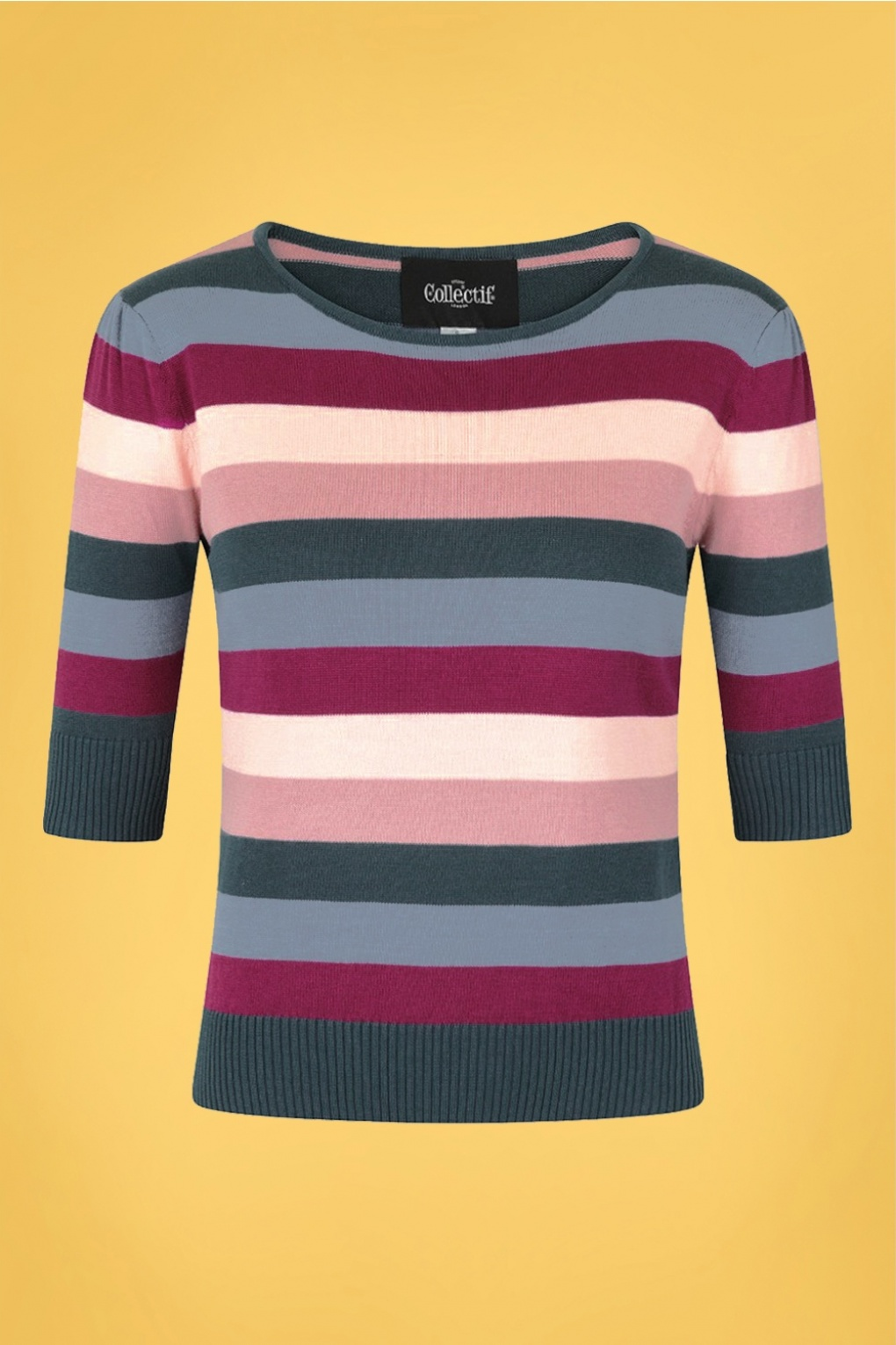 50s Shirts & Tops 50s Chrissie Paradise Stripe Knitted Top in Multi £38.91 AT vintagedancer.com