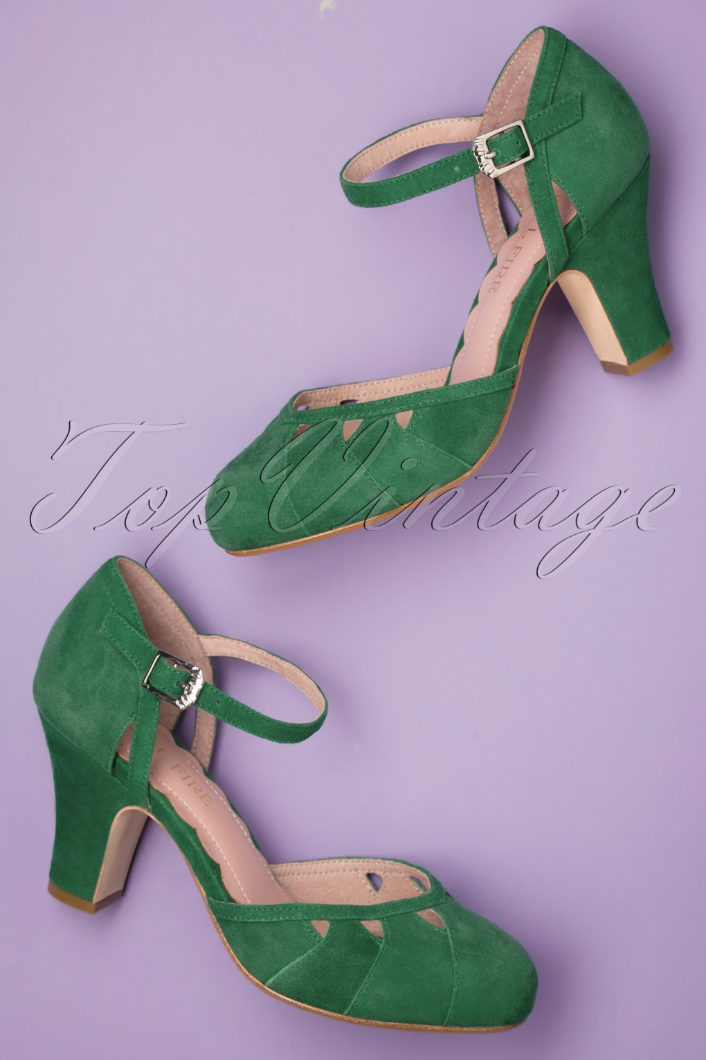 Pin Up Shoes- Heels, Pumps & Flats 40s Lucie Cut Out Pumps in Kelly Green £110.68 AT vintagedancer.com