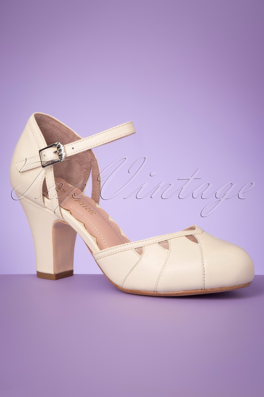 Pin Up Shoes- Heels, Pumps & Flats 40s Lucie Cut Out Pumps in Off White £157.69 AT vintagedancer.com
