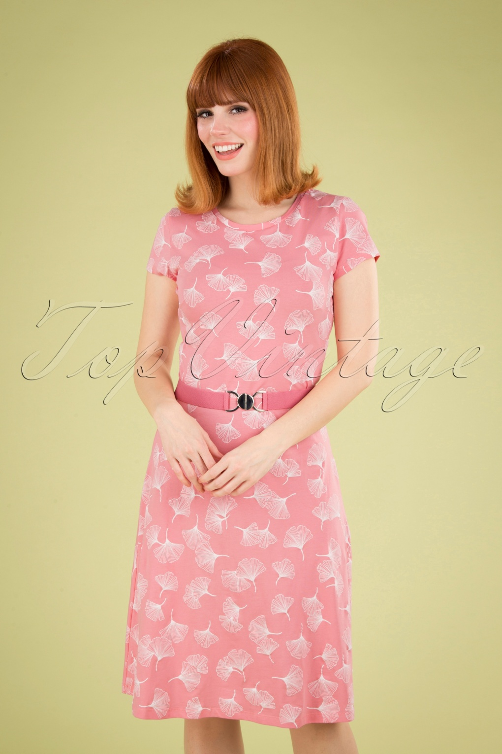 60s Dresses & 60s Style Dresses UK 60s Oh Yeah Ginko Leaves Dress in Pink £79.95 AT vintagedancer.com