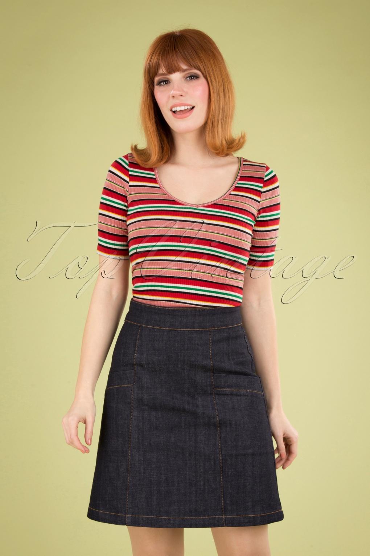 60s Skirts | 70s Hippie Skirts, Jumper Dresses 60s Modern Rock N Roll Skirt in Dark Denim Navy £57.73 AT vintagedancer.com