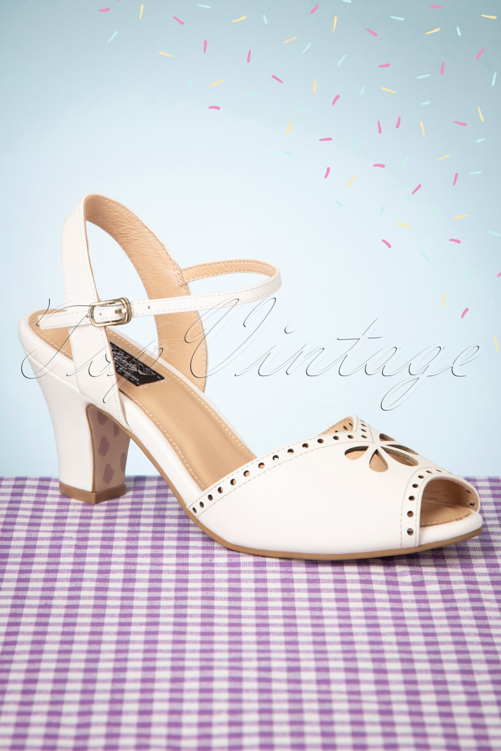 1950s Style Shoes | Heels, Flats, Saddle Shoes 50s Ava Bellezza Classica Sandalettes in Off-White £80.64 AT vintagedancer.com