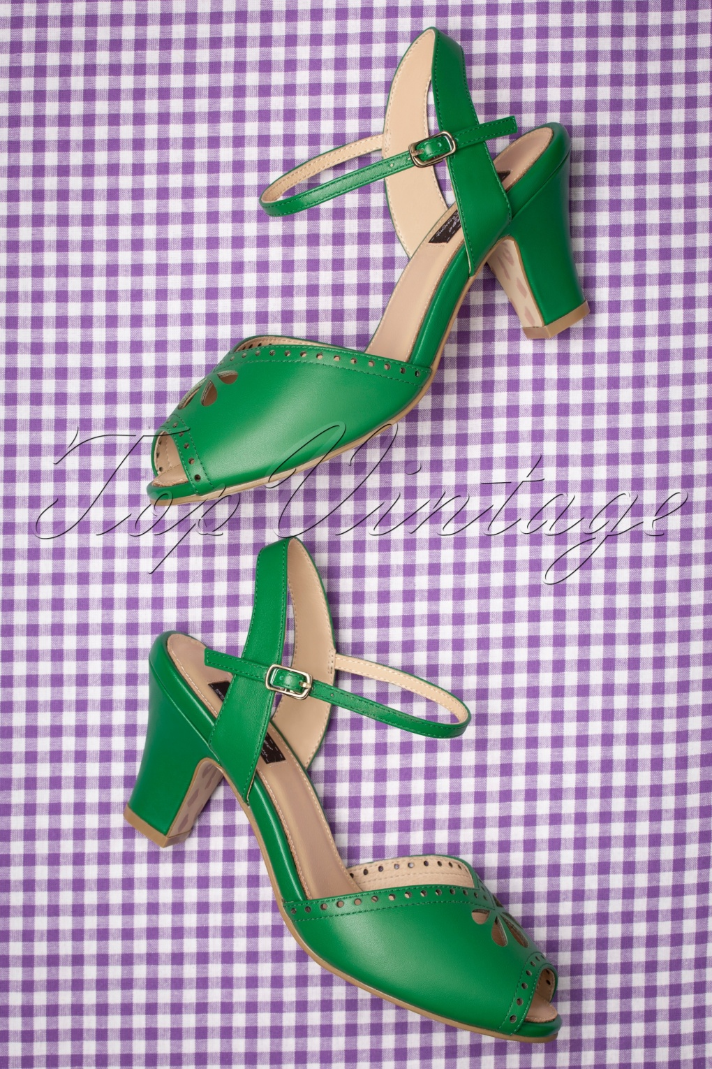 1950s Style Shoes | Heels, Flats, Saddle Shoes 50s Ava Bellezza Classica Sandalettes in Green £81.47 AT vintagedancer.com
