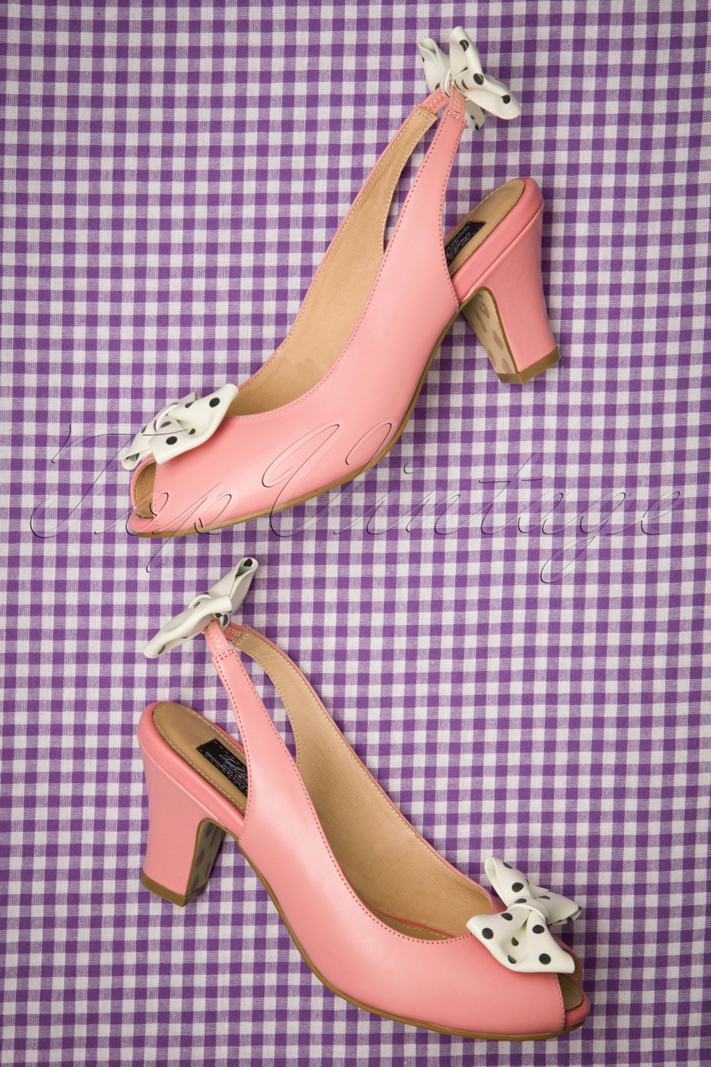 1950s Style Shoes | Heels, Flats, Saddle Shoes 50s Ava Carina Bow Sandalettes in Pink £84.68 AT vintagedancer.com