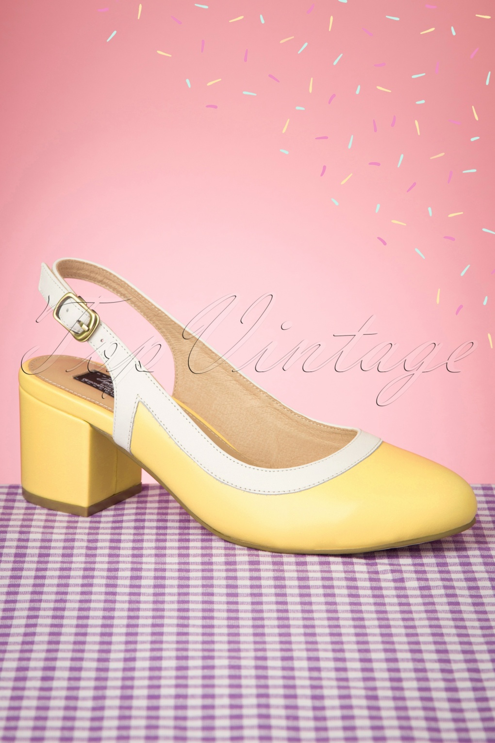 60s Dresses & 60s Style Dresses UK 60s Eve Pastello Slingback Pumps in Off White and Yellow £58.60 AT vintagedancer.com