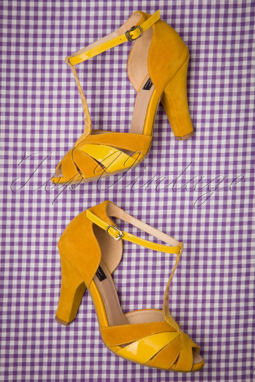 1950s Style Shoes | Heels, Flats, Saddle Shoes 50s June Luce Del Sole Peeptoe Pumps in Yellow £108.11 AT vintagedancer.com