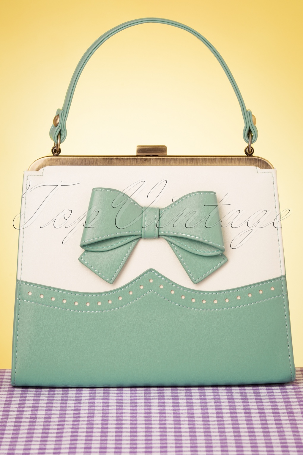 1950s Accessories | 50s Scarf, Belt, Parasol, Umbrella 50s Inez Classica Bag in Mint and White £57.02 AT vintagedancer.com