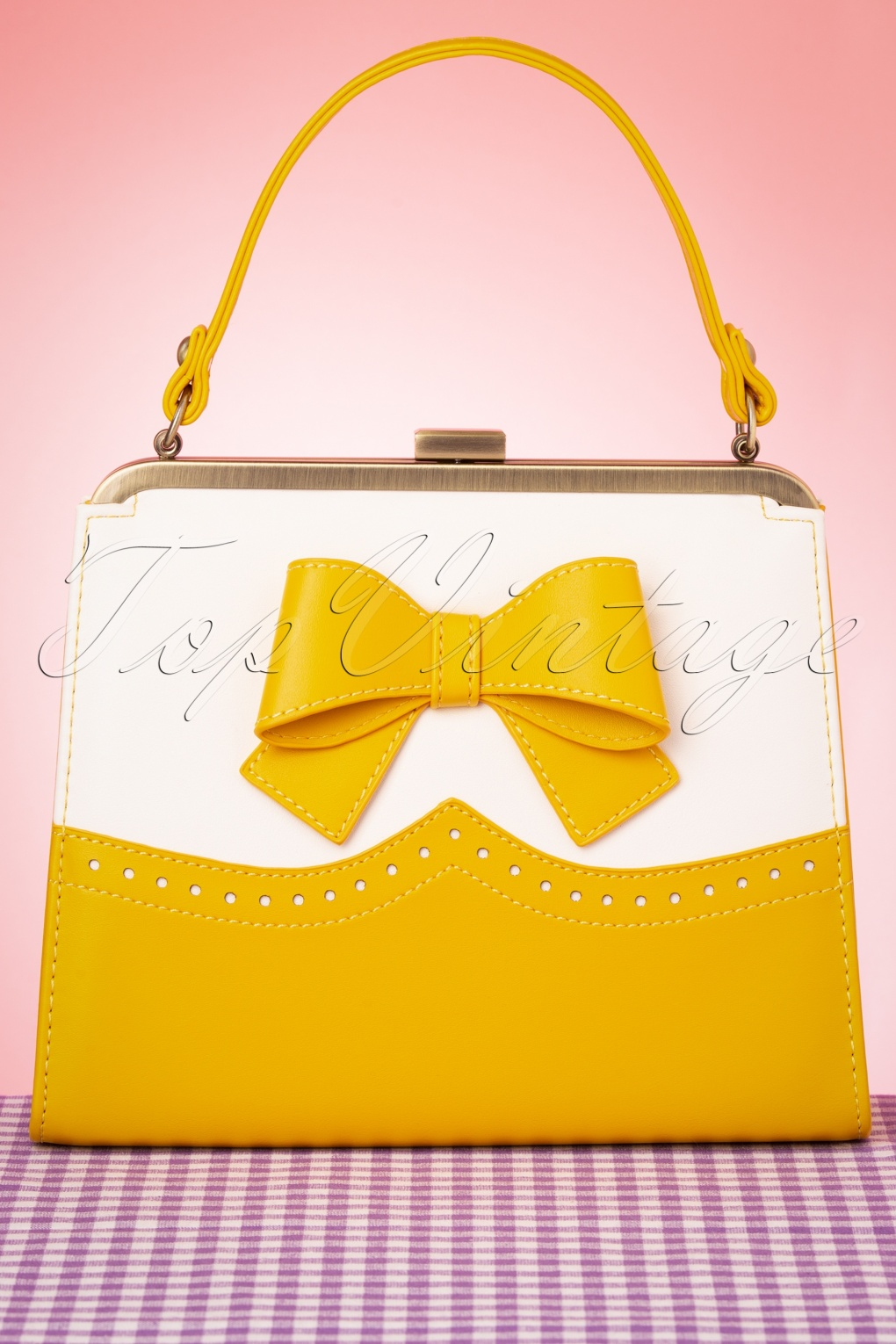 1950s Accessories | 50s Scarf, Belt, Parasol, Umbrella 50s Inez Classica Bag in Yellow and White £57.02 AT vintagedancer.com