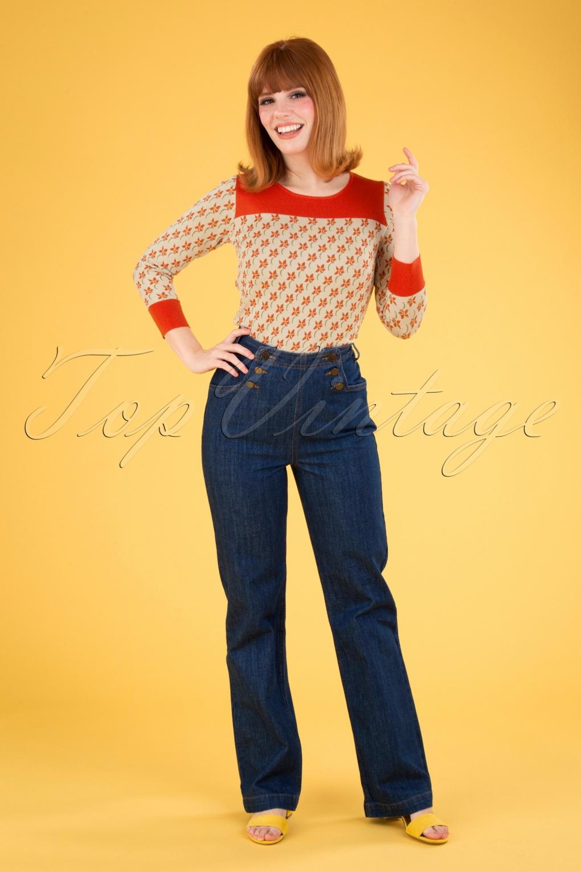 60s Dresses & 60s Style Dresses UK 60s Sailor Denim Pants in Blue £88.83 AT vintagedancer.com
