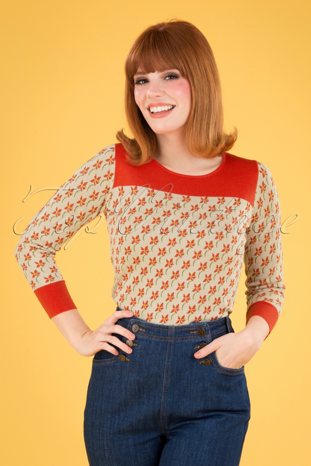 Vintage Sweaters, Retro Sweaters & Cardigan Ladies 60s Bella Fauna Knit Top in Cream £64.78 AT vintagedancer.com