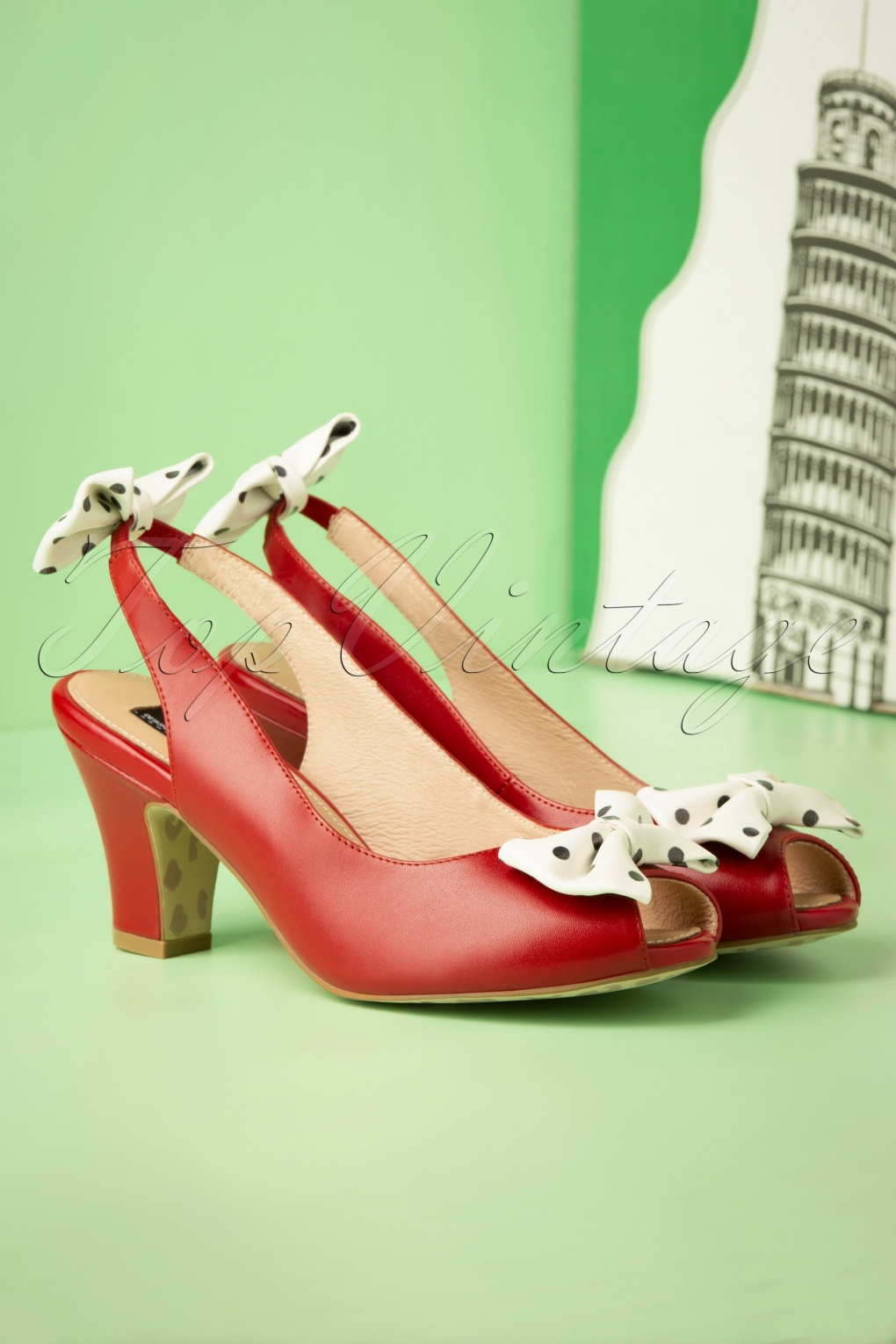 Rockabilly Shoes- Heels, Pumps, Boots, Flats 50s Ava Carina Bow Sandalettes in Red £84.14 AT vintagedancer.com