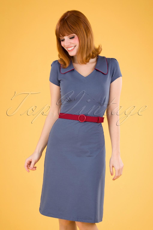 60s Dresses & 60s Style Dresses UK 60s Vintage Moments Polkadots Dress in Blue £93.28 AT vintagedancer.com