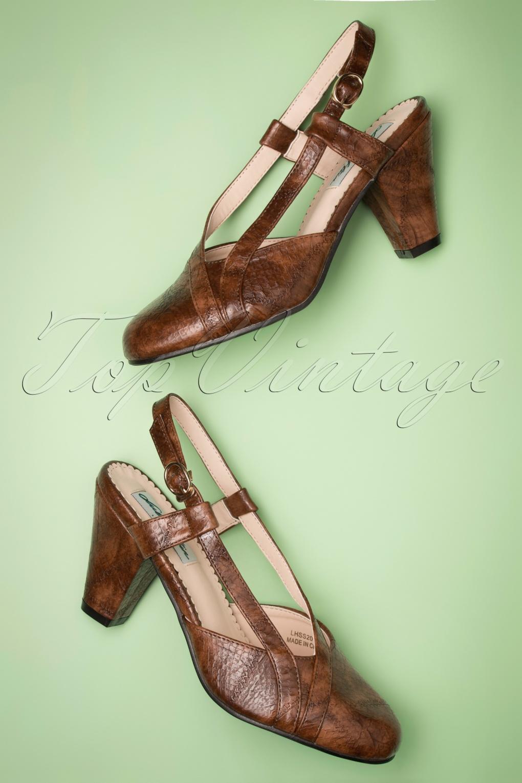 Vintage Heels, Retro Heels, Pumps, Shoes 40s Elena Snake Slingback Pumps in Brown £45.02 AT vintagedancer.com